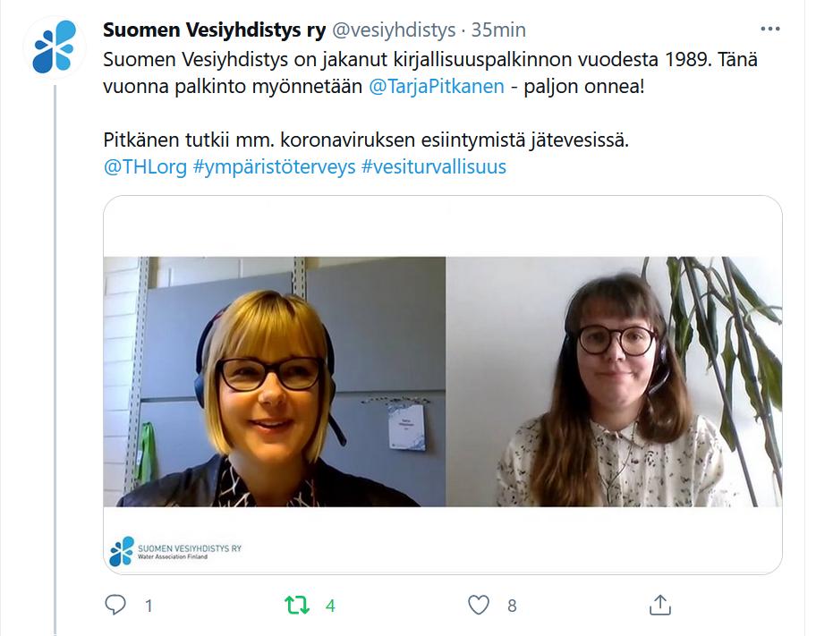 Vuoden 2021 kirjallisuuspalkinto myönnettiin Tarja Pitkäselle